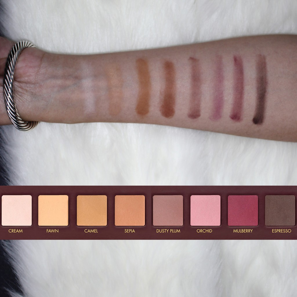 Swatches of the colors for Row 1 of Lorac Mega Pro Palette