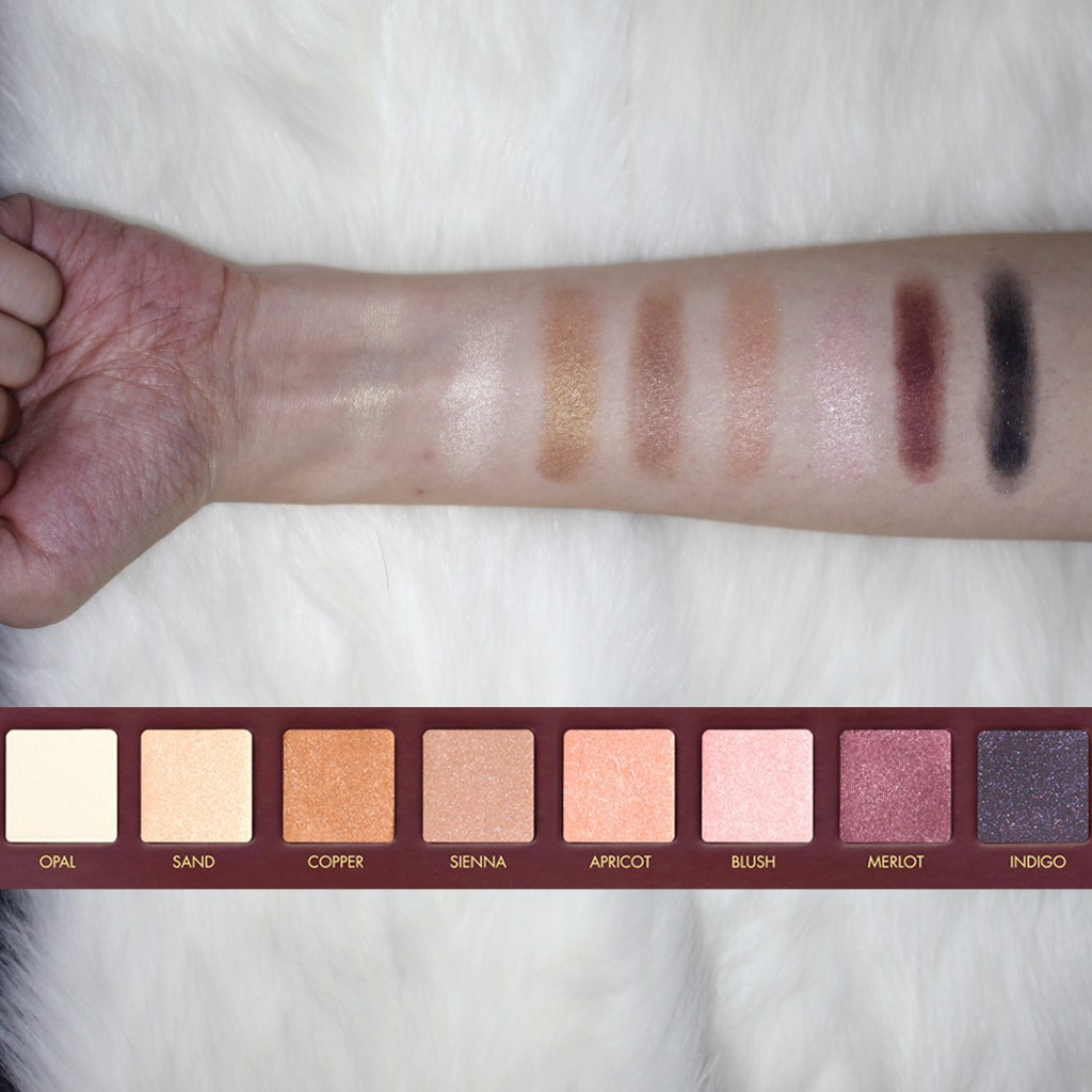 Swatches of the colors for Row 3 of Lorac Mega Pro Palette