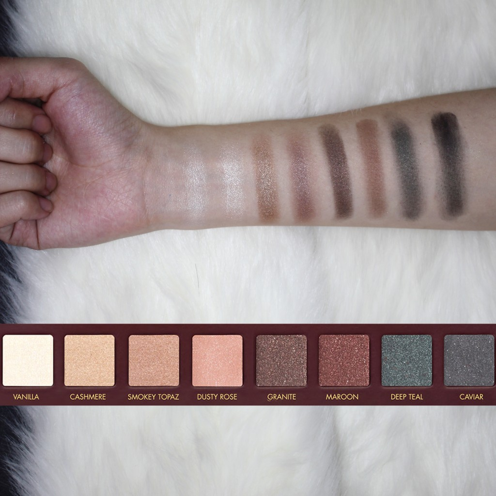 Swatches of the colors for Row 4 of Lorac Mega Pro Palette