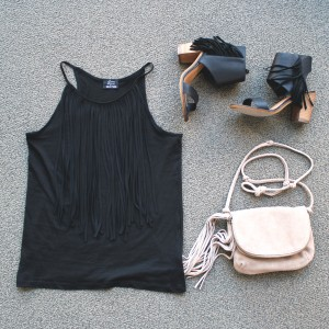 fringe tank top, fringe crossbody bag, fringe sandals